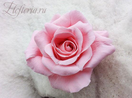 готовый цветок розы из полимерной глины