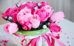 розы из конфет и гофрированной бумаги своими руками пошагово