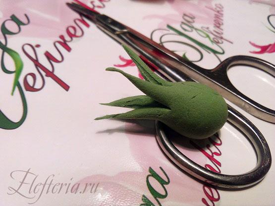 чашелистик для розы из полимерной глины